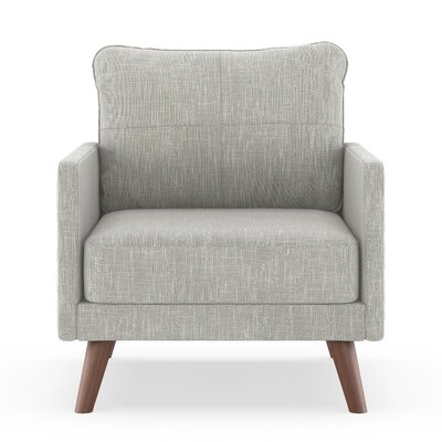 Crisman Armchair Upholstery: Cloud Gray, Finish: Brass