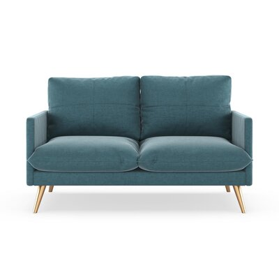 Sabatino Loveseat Upholstery: Steel Blue, Finish: Chrome