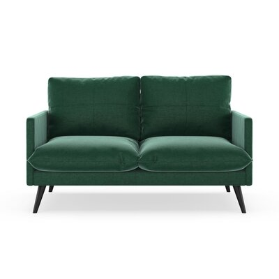 Sabatino Loveseat Upholstery: Jade Green, Finish: Black