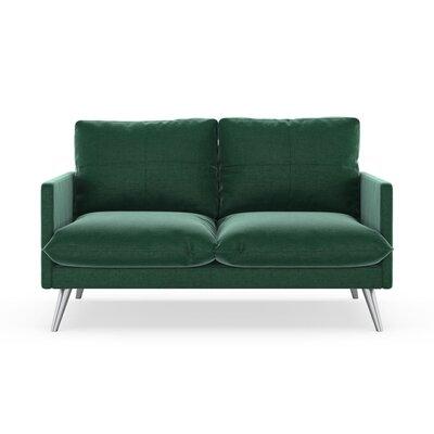 Sabatino Loveseat Upholstery: Jade Green, Finish: Brass