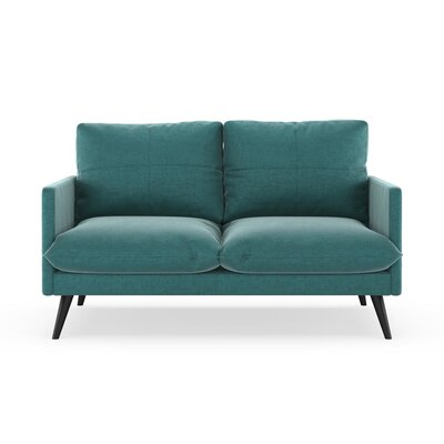 Sabatino Loveseat Upholstery: Blue Topaz, Finish: Black