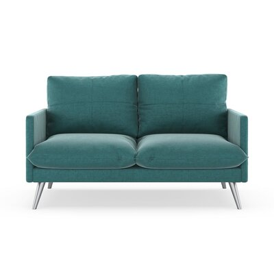 Sabatino Loveseat Upholstery: Blue Topaz, Finish: Brass