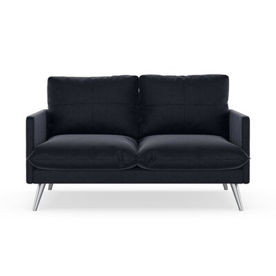 Sabatino Loveseat Upholstery: Midnight, Finish: Brass