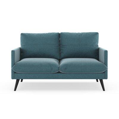 Sabatino Loveseat Upholstery: Steel Blue, Finish: Black