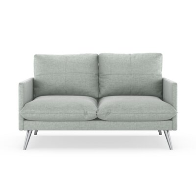 Sabatino Loveseat Upholstery: Silver Gray, Finish: Brass