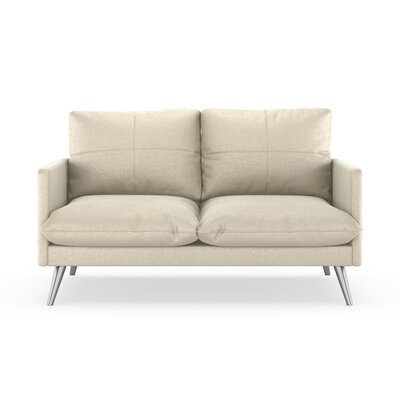 Sabatino Loveseat Upholstery: Vanilla, Finish: Brass