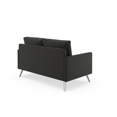 Seitz Loveseat Upholstery: Slate Gray, Finish: Brass