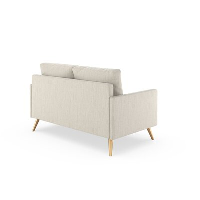 Seitz Loveseat Upholstery: Wheat, Finish: Chrome