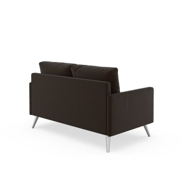 Seitz Loveseat Upholstery: Espresso, Finish: Brass