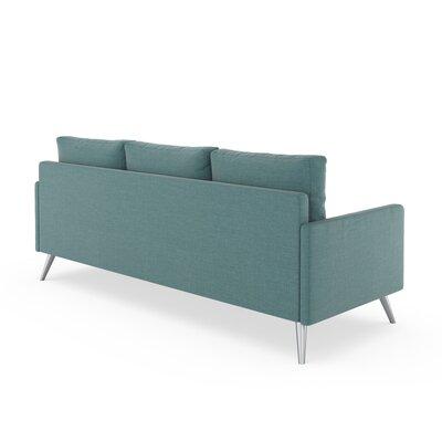 Croker Sofa Upholstery: Stone Blue, Finish: Brass