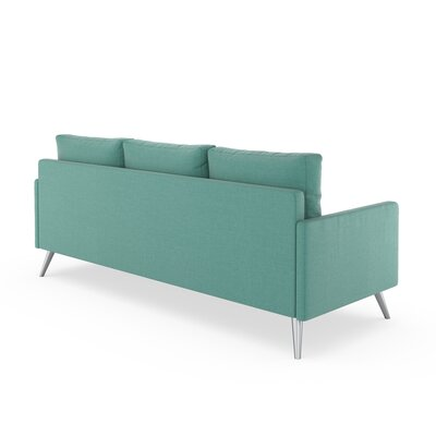Croker Sofa Upholstery: Blue Lagoon, Finish: Brass