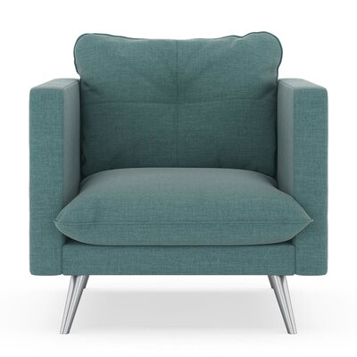 Crosier Armchair Upholstery: Stone Blue, Finish: Brass