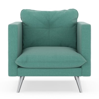 Crosier Armchair Upholstery: Blue Lagoon, Finish: Brass