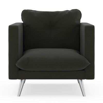 Crosier Armchair Upholstery: Peppercorn, Finish: Chrome