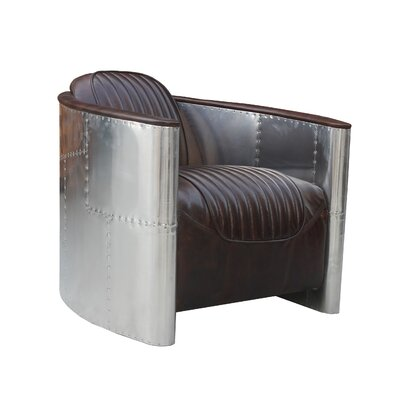 Cully Top Leather Barrel Chair