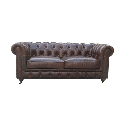 Deshazo Leather Chesterfield Loveseat