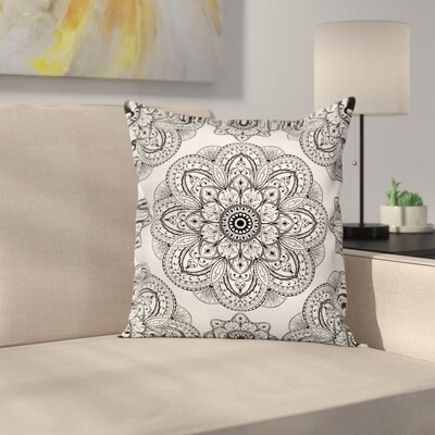 Ornate Mandala Patterns Square Pillow Cover Size: 18 x 18