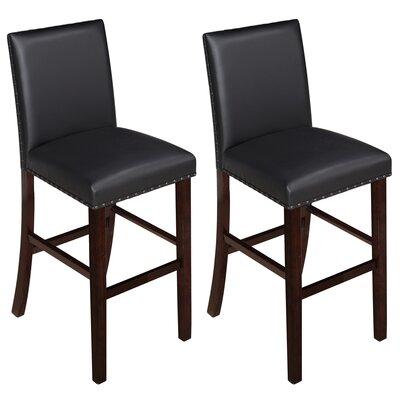 Lawrence 29 Bar Stool Upholstery: Black, Frame Color: Espresso