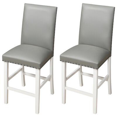 Lawrence 24 Bar Stool Upholstery: Gray, Frame Color: White