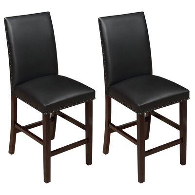 Lawrence 24 Bar Stool Upholstery: Black, Frame Color: Espresso