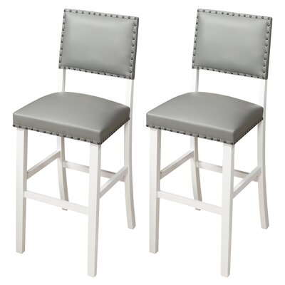 Kirkland 29 Bar Stool Upholstery: Gray, Frame Color: White