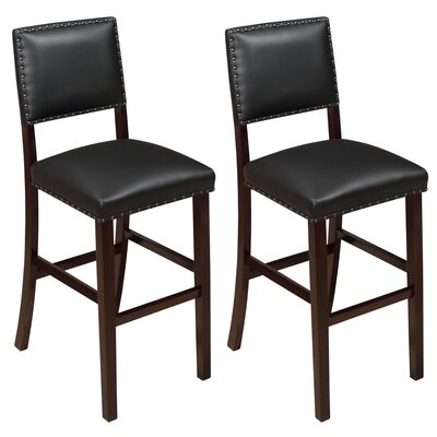 Kirkland 29 Bar Stool Upholstery: Black, Frame Color: Espresso