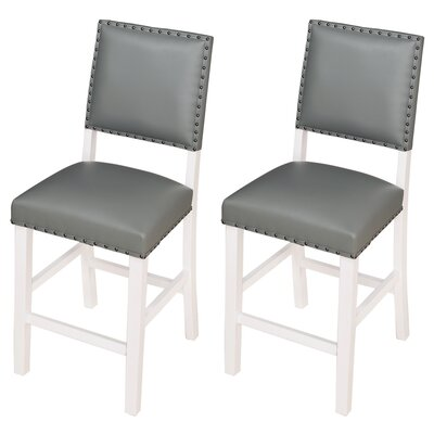 Kirkland 24 Bar Stool Upholstery: Gray, Frame Color: White