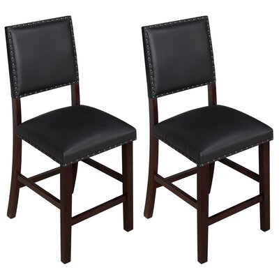 Kirkland 24 Bar Stool Upholstery: Black, Frame Color: Espresso