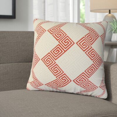 Mara Geometric Cotton Throw Pillow Color: Crimson