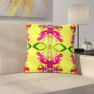 Dawid Roc Tropical Floral Orchids 1 Outdoor Throw Pillow Size: 16 H x 16 W x 5 D