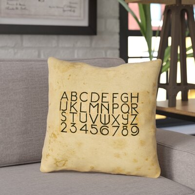 Daniyar Vintage Typography Outdoor Throw Pillow Size: 16 x 16