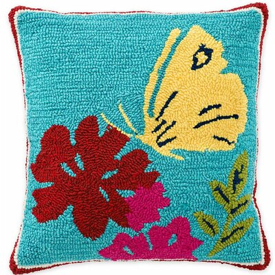Butterfly Hooked Indoor/Outdoor Throw Pillow