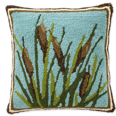 Cattail Hooked Indoor/Outdoor Throw Pillow