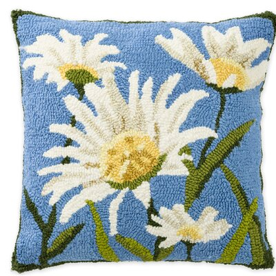 Daisies Hooked Indoor/Outdoor Throw Pillow