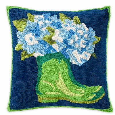 Garden Boots and Hydrangeas Hooked Indoor/Outdoor Throw Pillow