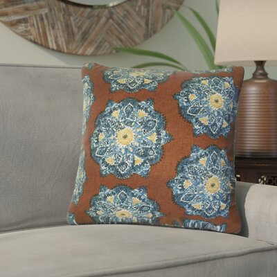 Zyana Damask Cotton Throw Pillow Color: Brown