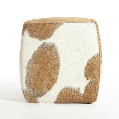 Cobb Leather Pouf Upholstery: Beige/White