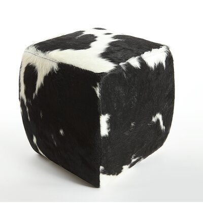 Cobb Leather Pouf Upholstery: Black/White