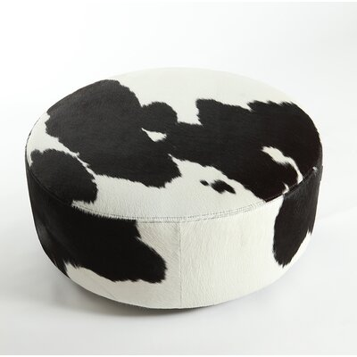 Cobden Round Natural Leather Ottoman Upholstery: Black/White