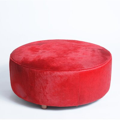 Cobden Round Natural Leather Ottoman Upholstery: Red