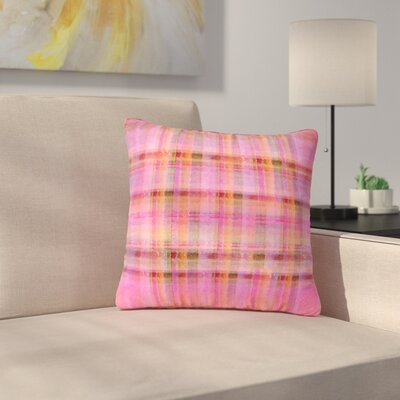Carolyn Greifeld Plaid Pattern Outdoor Throw Pillow Size: 18 H x 18 W x 5 D, Color: Pink/Yellow