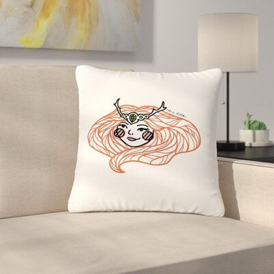 Busy Bree Oh, Deer Illustration Outdoor Throw Pillow Size: 16 H x 16 W x 5 D