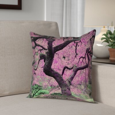 Ghost Train Japanese Maple Tree Throw Pillow Color: Pink, Size: 18 x 18