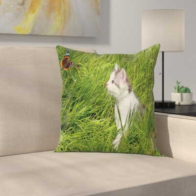 Cute Cat and Butterfly Cushion Pillow Cover Size: 18 x 18