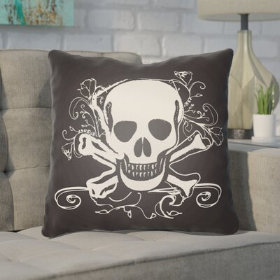 Calindra Skull and Bone Throw Pillow Size: 22 H �x 22 W x 5 D, Color: Black