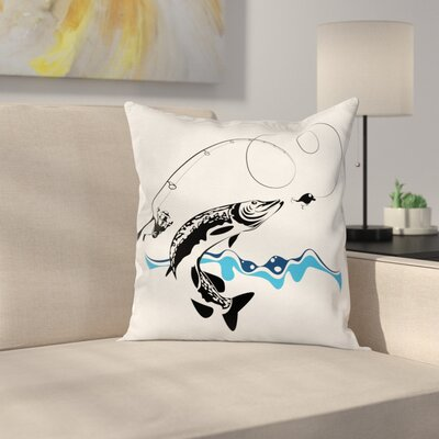 Fish Hand Drawn Art Nautical Square Pillow Cover Size: 24 x 24