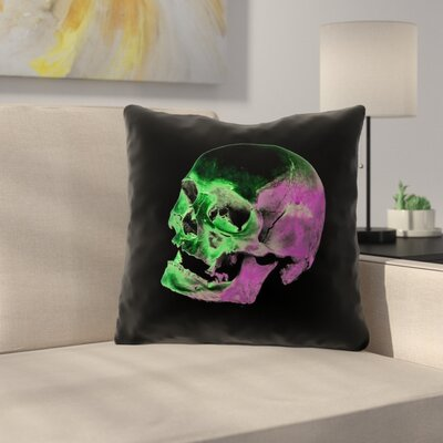 Skull Outdoor Throw Pillow Color: Green/Purple/Black, Size: 16 x 16
