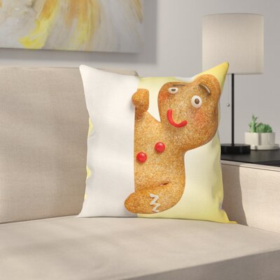 Gingerbread Man Xmas Character Square Pillow Cover Size: 24 x 24