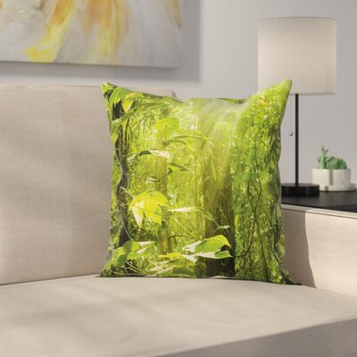 Leaf Branches Woodland Cushion Pillow Cover Size: 16 x 16
