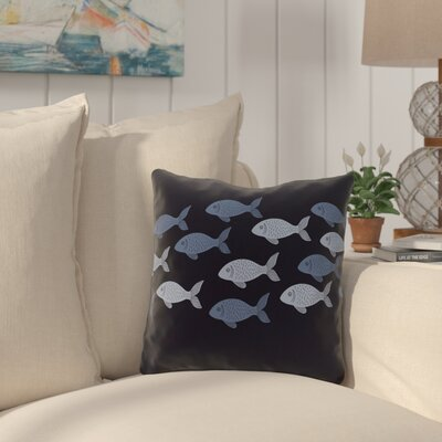 Golden Lakes Fish Line Throw Pillow Size: 18 H x 18 W, Color: Navy Blue